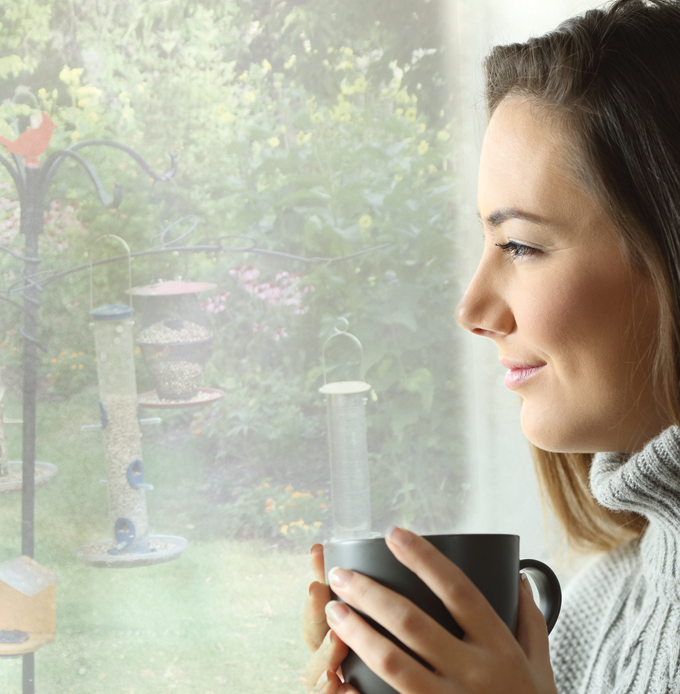 Woman looking out the window at bird feeders